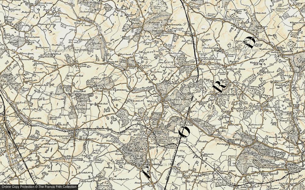 Old Map of Welwyn, 1898-1899 in 1898-1899