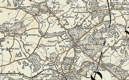 Old map of Welwyn in 1898-1899