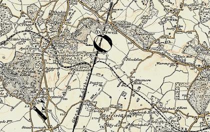 Old map of Welwyn Garden City in 1898