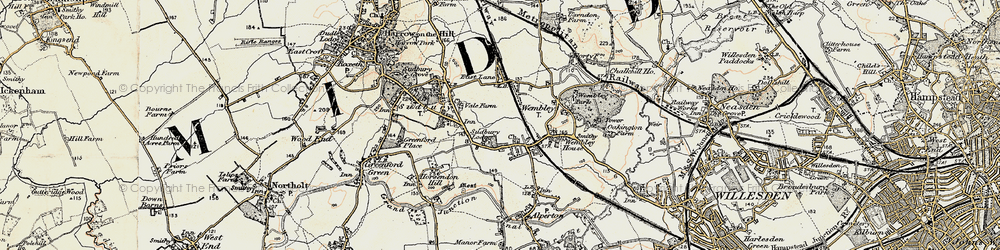 Old map of Wembley in 1897-1909