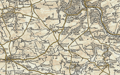 Old map of Abbotsham in 1899-1900