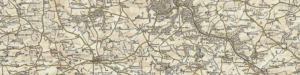 Old map of Abbotsham in 1899-1900