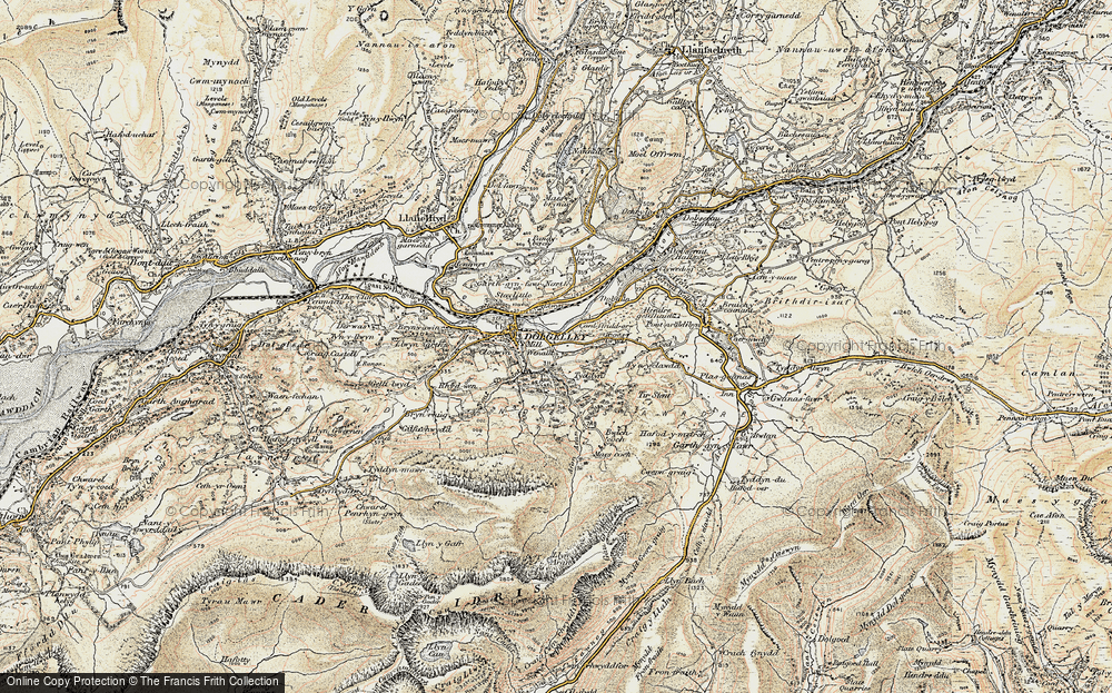 Old Map of Historic Map covering Afon Arran in 1902-1903