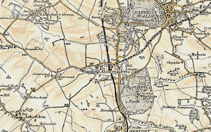 Old map of Audley End Sta in 1898-1901