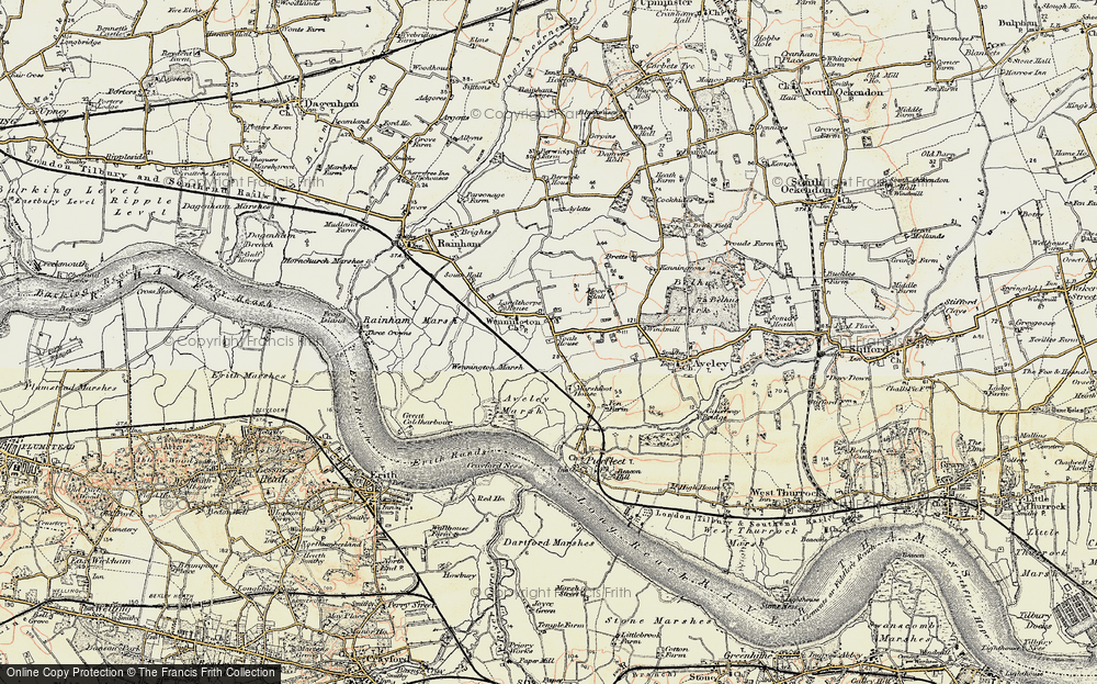 Old Map of Historic Map covering Aveley Marshes in 1897-1898