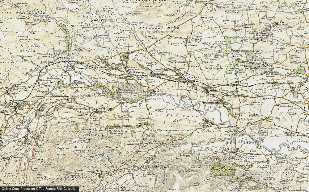 Old Map of Historic Map covering Leyburn Shawl in 1904