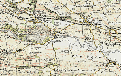Old map of Wensley in 1904