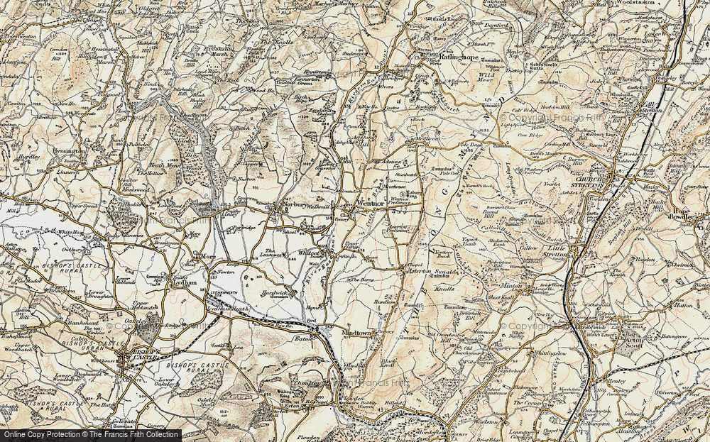 Old Map of Historic Map covering Asterton Prolley Moor in 1902-1903