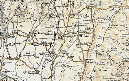 Old map of Asterton Prolley Moor in 1902-1903
