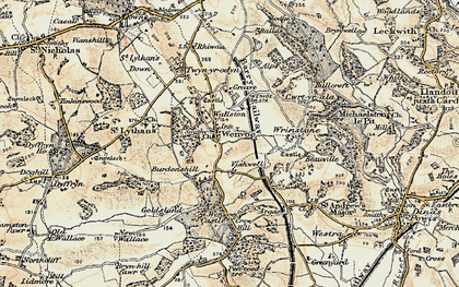 Old map of Wenvoe in 1899-1900