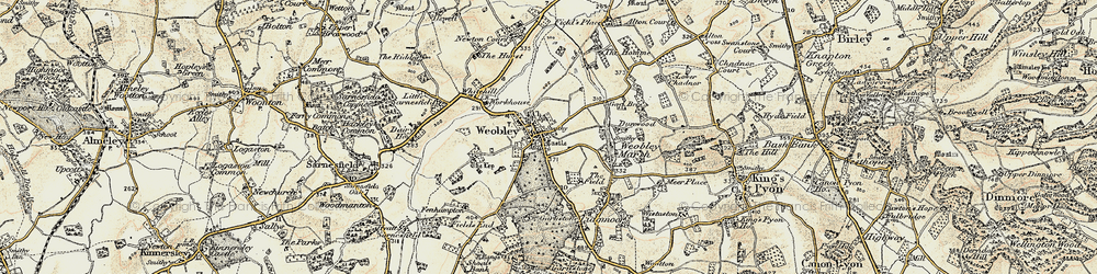 Old map of Weobley in 1900-1901