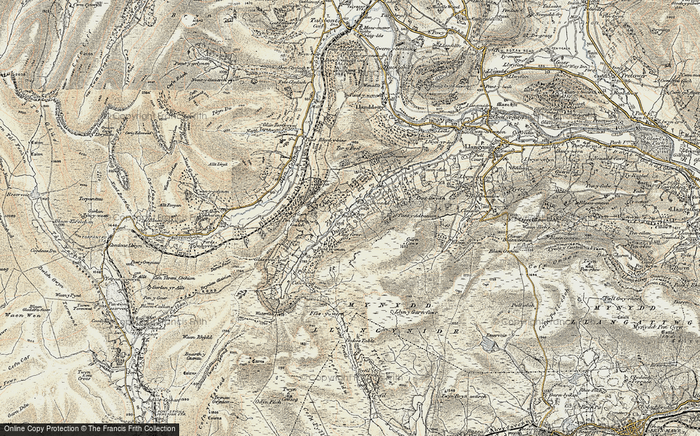 Old Map of Historic Map covering Afon Crawnon in 1899-1901