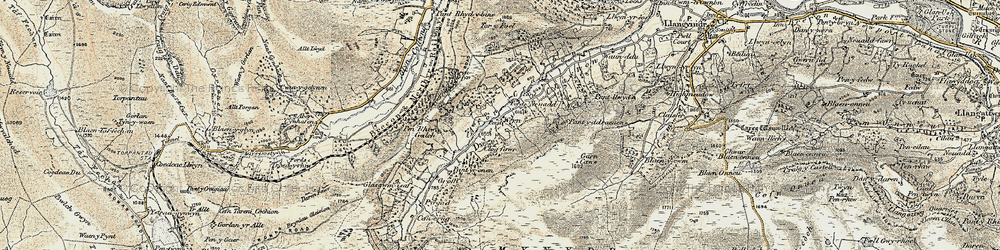 Old map of Afon Crawnon in 1899-1901