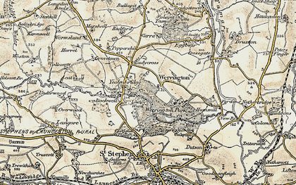 Old map of Werrington in 1900