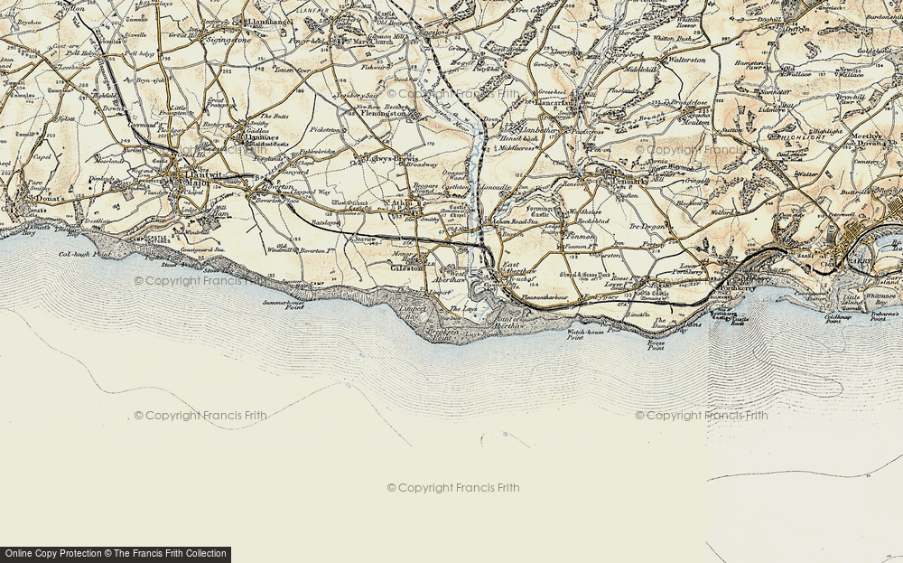 Old Map of Historic Map covering Leys Beach in 1899-1900