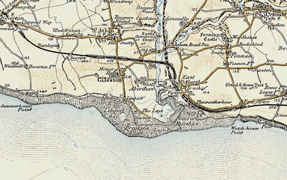 Old map of Leys Beach in 1899-1900