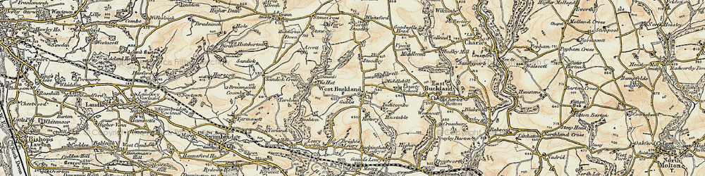 Old map of Accott in 1900