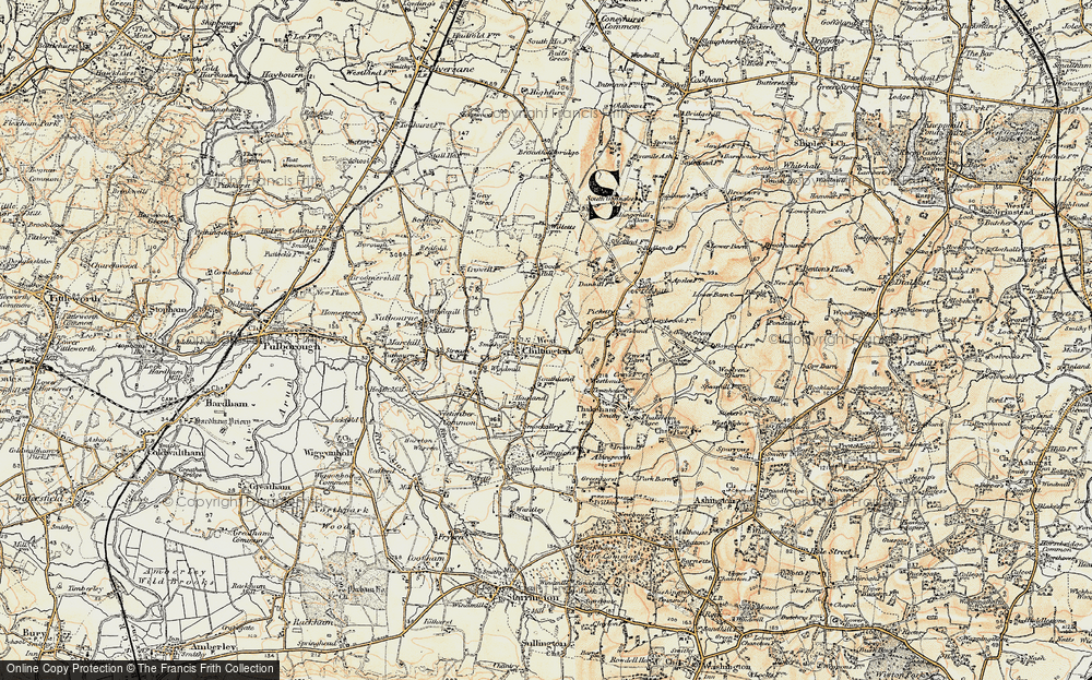 Old Map of Historic Map covering Woods Hill in 1898