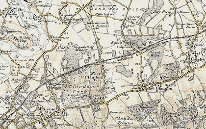 Old map of West Clandon in 1898-1909