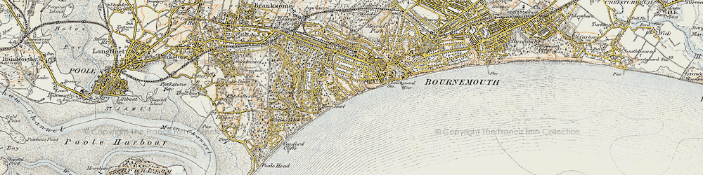 Old map of Alum Chine in 1899-1909