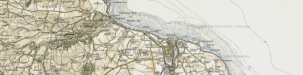 Old map of Whitby Sands in 1903-1904