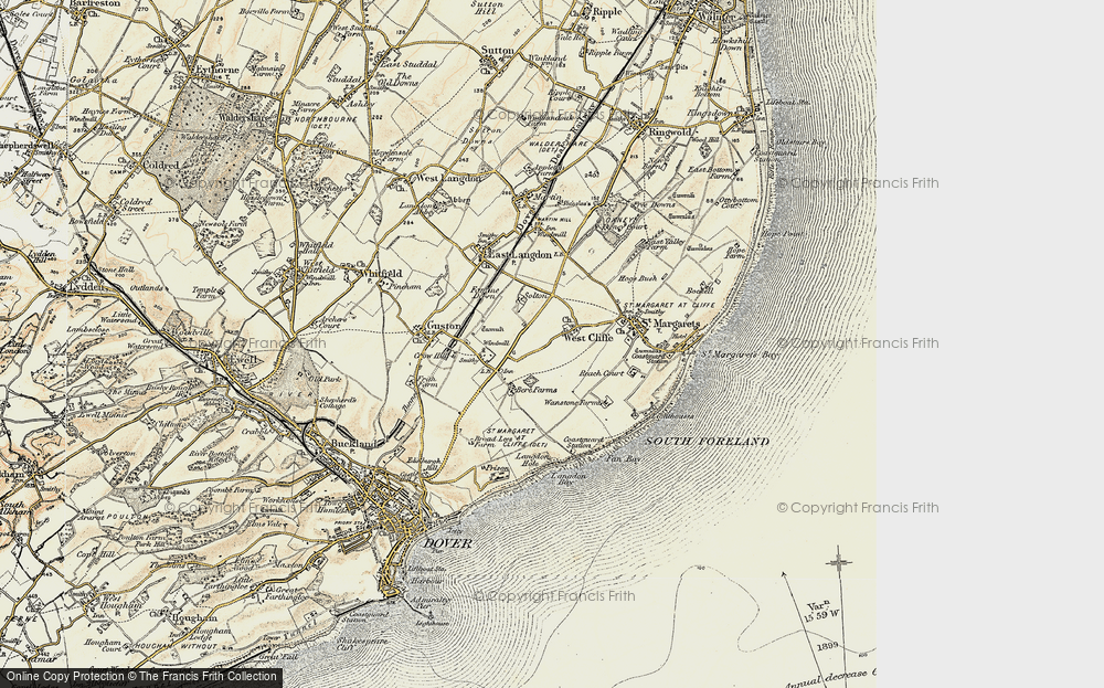 Old Map of Historic Map covering Langdon Bay in 1898-1899