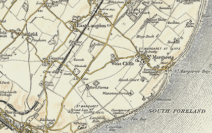 Old map of Langdon Bay in 1898-1899