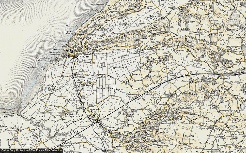 Old Map of Historic Map covering Tickenham Moor in 1899