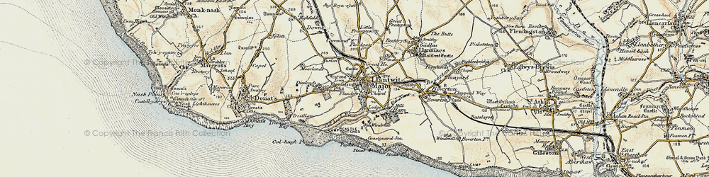 Old map of Afon Col'-huw in 1899-1900