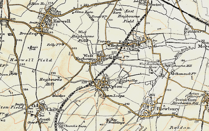 Old map of West Hagbourne in 1897-1898