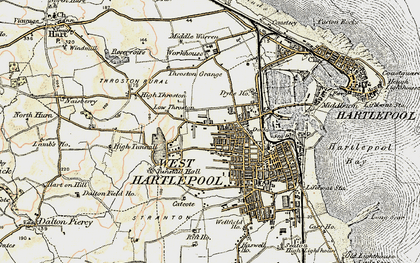 Old map of West Hartlepool in 1903-1904