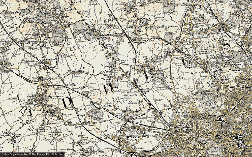 Old Map of West Hendon, 1897-1898 in 1897-1898