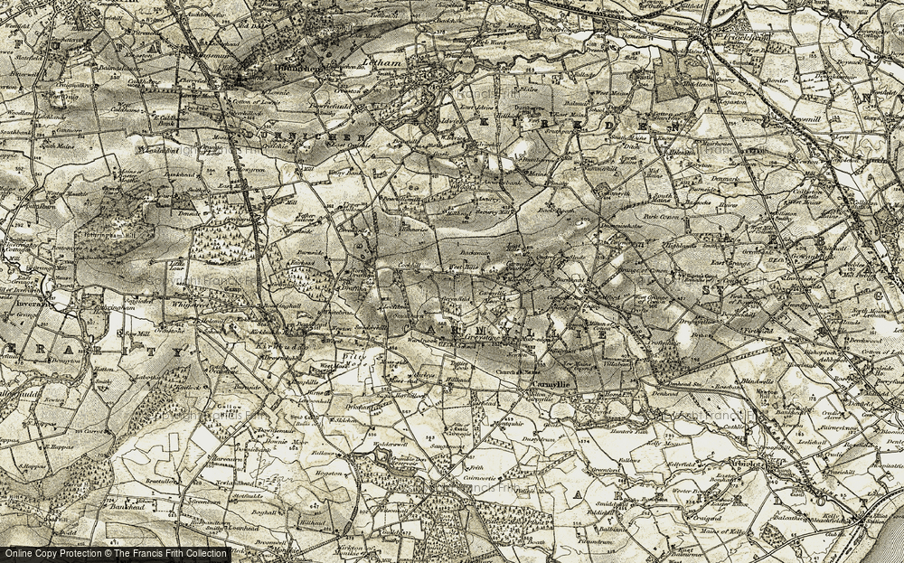 Old Map of Historic Map covering Ascurry Wood in 1907-1908
