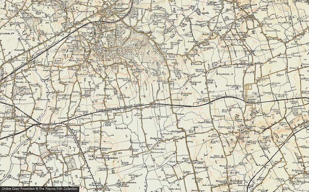 Old Map of Historic Map covering Tillingham Hall in 1898