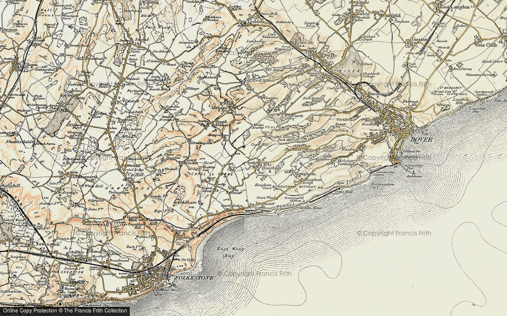 Old Map of West Hougham, 1898-1899 in 1898-1899