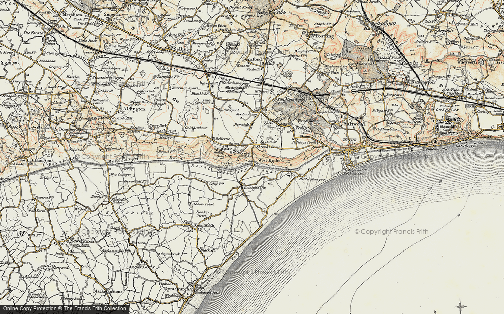 Old Map of Historic Map covering Lemanis (Stutfall Castle) (Roman Fort) in 1898-1899