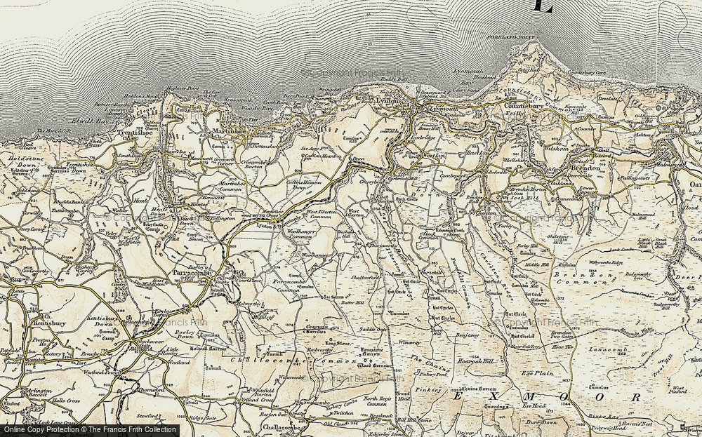 Old Map of Historic Map covering Barham Hill in 1900