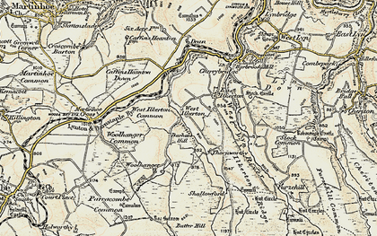 Old map of Barham Hill in 1900