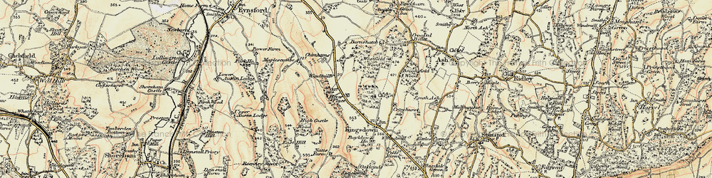 Old map of Brands Hatch Circuit in 1897-1898