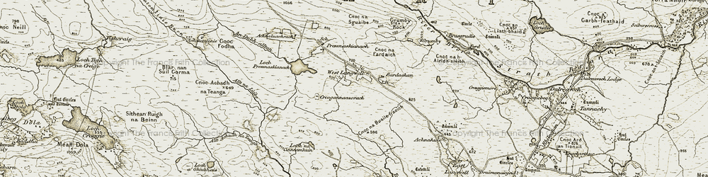 Old map of An Dubh-alltan in 1910-1912
