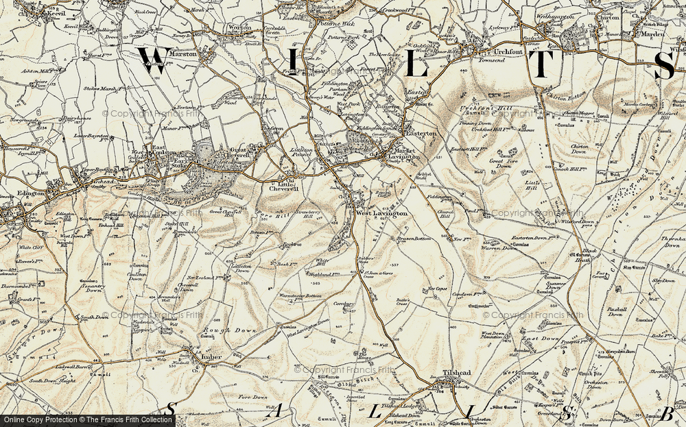 Old Map of Historic Map covering White Hill in 1898-1899