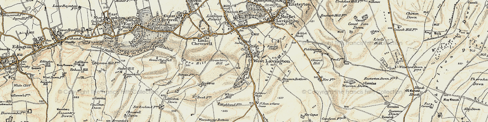 Old map of West Lavington in 1898-1899