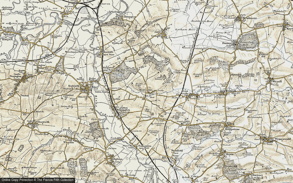 Old Map of Historic Map covering Ash Spinney in 1902-1903
