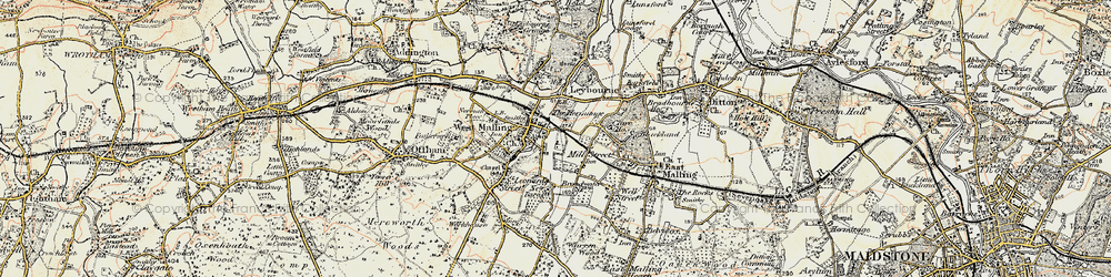Old map of West Malling in 1897-1898