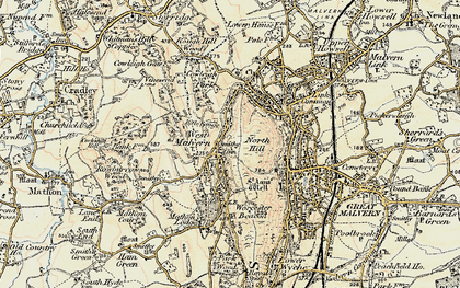 Old map of Worcestershire Beacon in 1899-1901