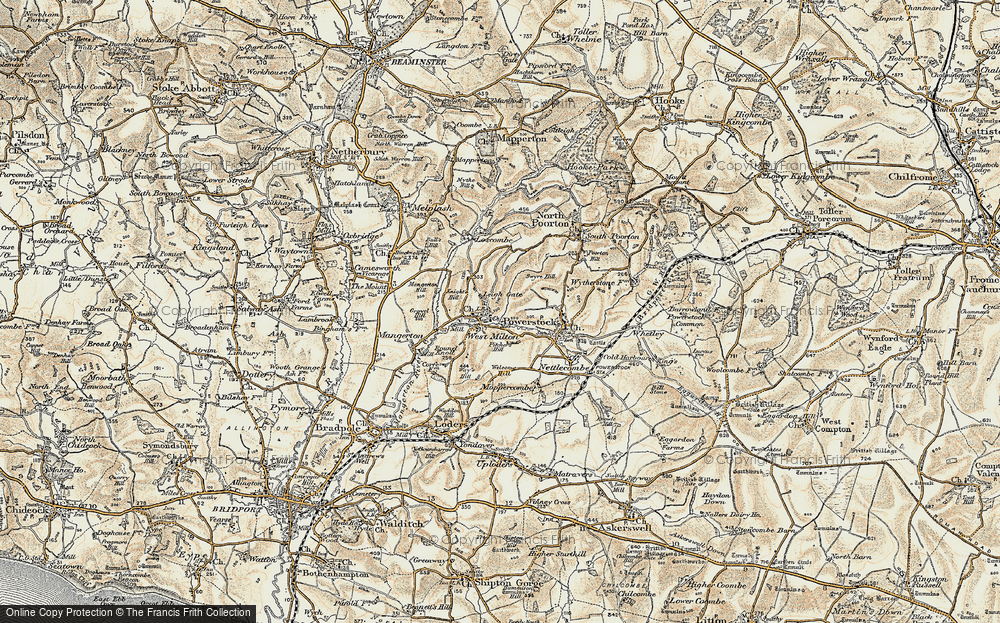 Old Map of Historic Map covering Leigh Gate in 1899