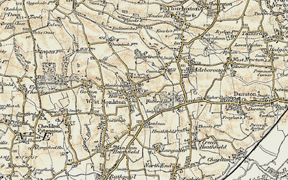 Old map of West Monkton in 1898-1900