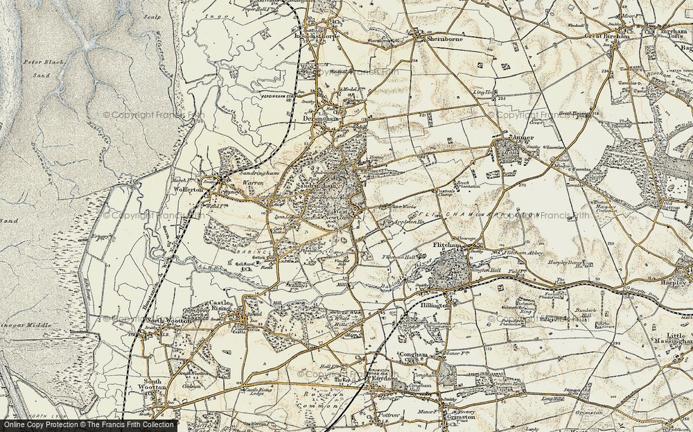 Old Map of Historic Map covering Woodcock Wood in 1901