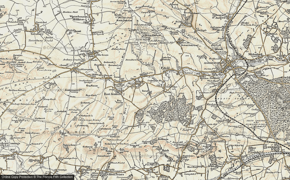 Old Map of West Overton, 1897-1899 in 1897-1899