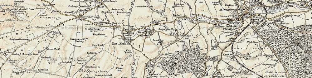 Old map of West Overton in 1897-1899